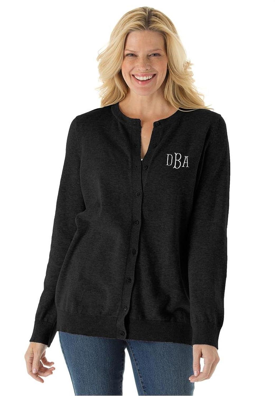 Women's Plus Size Monogrammed Classic Cardigan Sweater Black,L