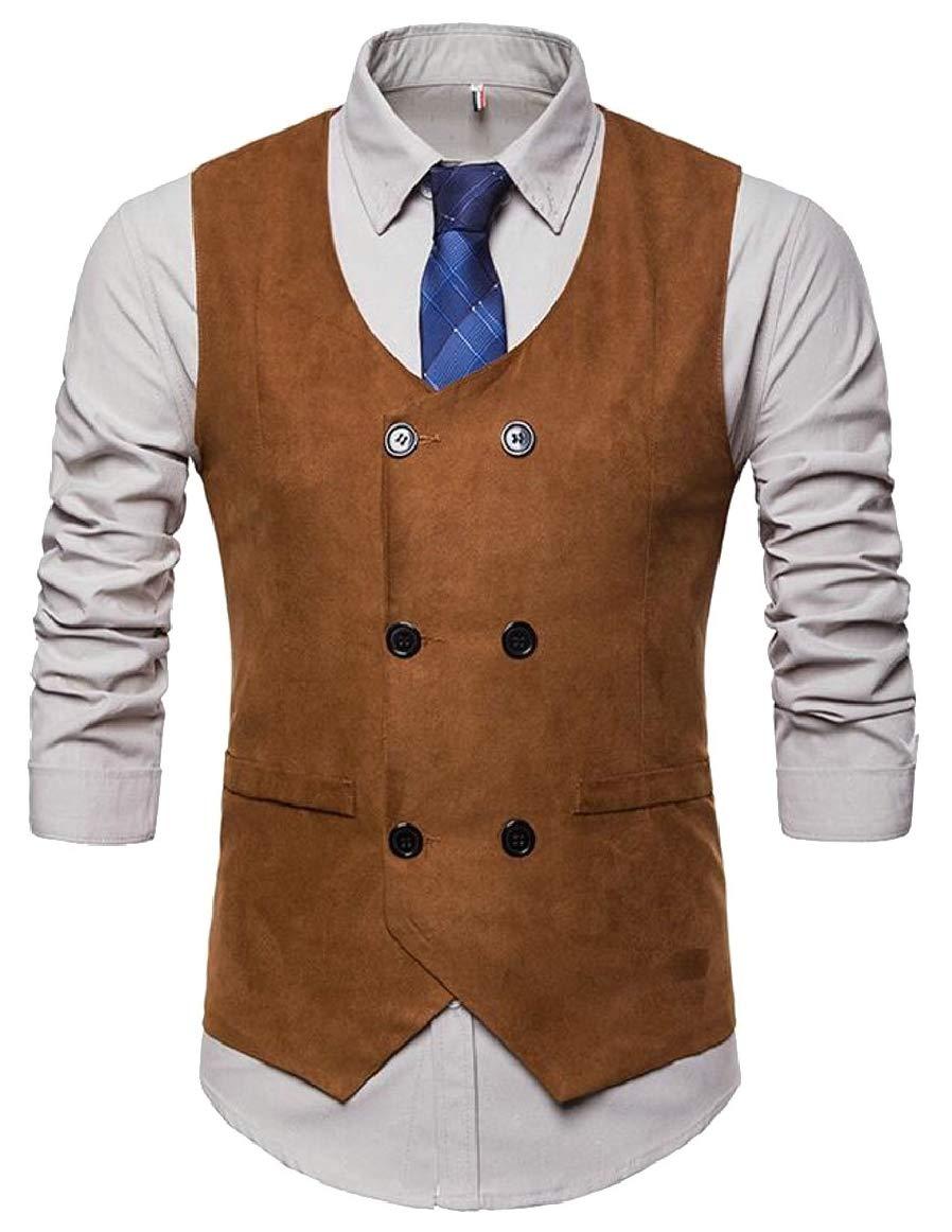 pujingge-CA Men's Faux Suede Vest Slim Jacket Casual Suit Vest Waistcoat