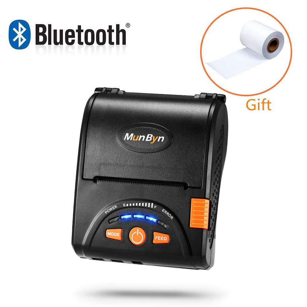 58mm Bluetooth Thermal Wireless Printer MUNBYN Thermal Receipt Printer for  Android iPhone iPad with Rechargeable Battery ESC/POS