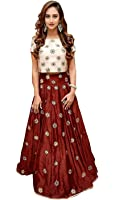 Aarvicouture Womens Red Tapeta Silk Stitched Long Style Gown For Girls (Aa_22_Cream_Tapeta_Semi Stitched_JFW-125)