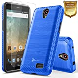 zte prelude cricket - ZTE Maven 3 Case, ZTE Overture 3 Case with [Tempered Glass Screen Protector], ZTE Prelude Plus Case(4G LTE), NageBee [Carbon Fiber Brushed] Defender [Dual Layer] Protector Hybrid Case (Blue)