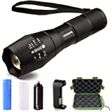 LED Tactical Flashlight,JCHope XML T6 High Powered Handheld Torch with Rechargeable 18650 Lithium Ion Battery and Charger , 5 Modes Zoomable Adjustable Focus For Hiking, Camping, Emergency