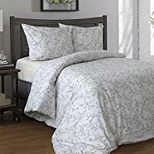 """LikeaHome 4-pieces Bed Linen Set Uvisni Poplin Cotton Collection Floral Print Duvet Cover Set with 2 Shams and 15""""Deep Pocket Fitted Sheet European Quality Bedding (Queen size, Morning glory on beige)"""