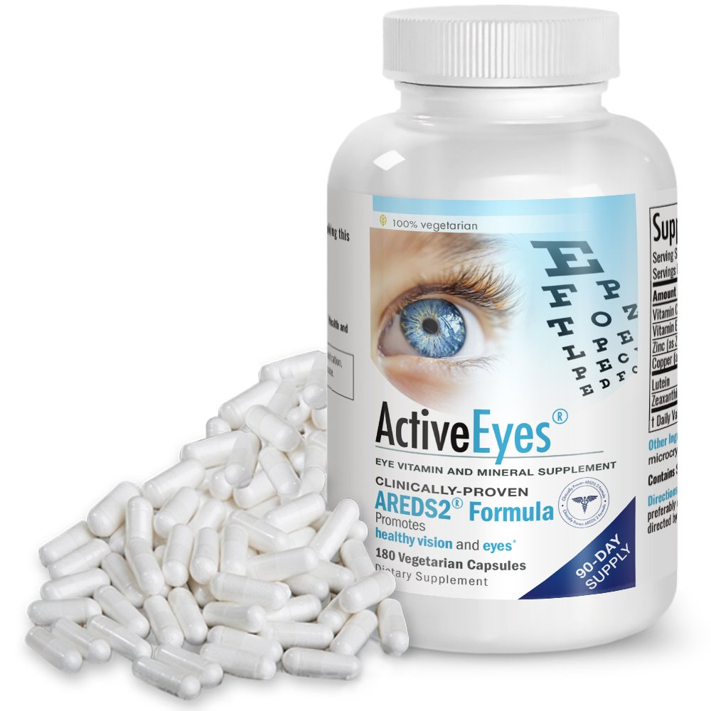 ActiveEyes AREDS 2 Eye Vitamin & Mineral Supplement with Lutein and Zeaxanthin, 180 Vegetarian Capsules