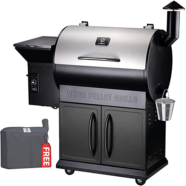 Z GRILLS 2020 Upgrade Wood Pellet Grills 8-in-1 Smoker Grill 700 SQIN Cooking Area,20LB Hopper Free Cover Gift