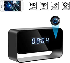 True 1080P Hidden Camera Clock Wireless Spy Cameras HD WiFi Secret Covert Nanny Cam Home Office Surveillance Security Cams Enhanced Night Vision 12/24 Hour Switch Motion Detection Alert