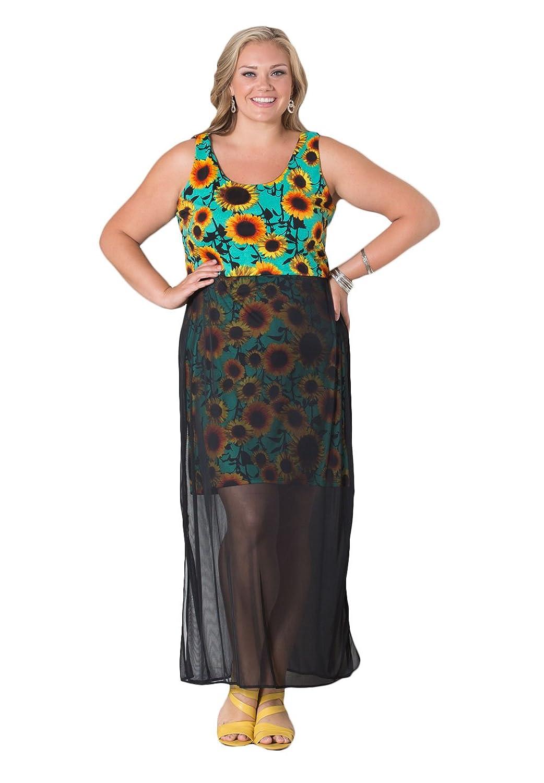 SWAK Womens Plus Size Sunflower Tank Dress at Amazon Women\'s ...
