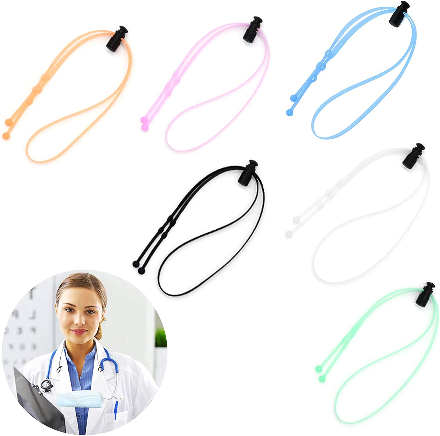 XMY Silicone Mask Strap Extender, Face Mask Lanyard Strap, Stepless Adjustable Mask Strap, Resistant up to 400 ℃ Odorless Food-Grade Premium Integrated Anti-Slip Silicone Lanyard Ver3.0(6 PCS)