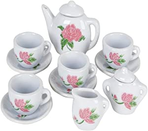 ArtCreativity Rose Flower Ceramic Doll Tea Set - 13 Pieces - Includes Cups and Plates - Tea Set for Pretend Tea Party - Fun Doll Dramatic Play Tool - Perfect Play Prize for Little Girls Ages 8+