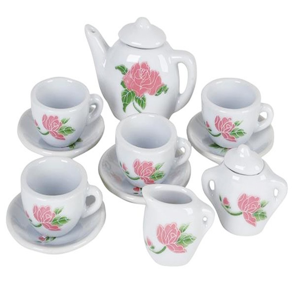 ArtCreativity Rose Flower Ceramic Doll Tea Set (13 Pieces) | Includes Cups and Plates | Tea Set for Pretend Tea Party | Fun Doll Dramatic Play Tool | Perfect Play Prize for Little Girls Ages 8+