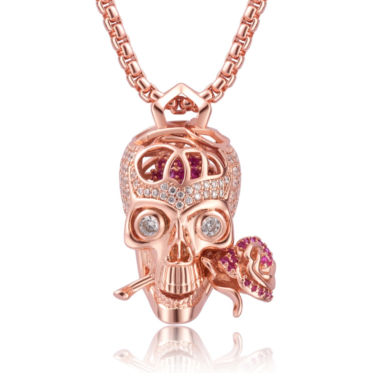 Karseer Shiny Filigree Sugar Skull and Everlasting Rose Charm Pendant Necklace with Crystal Brain Hidden Floating Inside, 24'' Box Chain Matching Costume, Rose Gold Tone Jewelry Gift for Men and Women