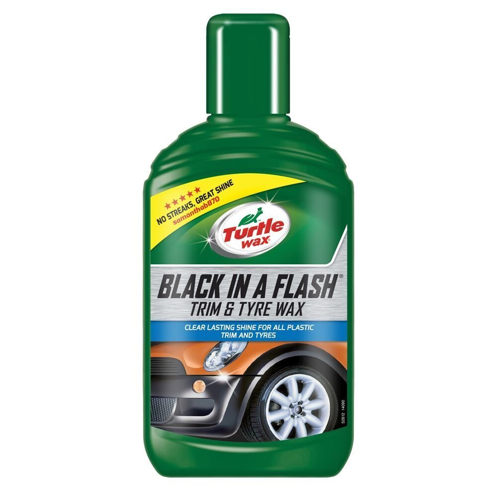 Turtle Wax 52812 Black in a Flash All in One Car Wax Restorer for Exterior Plastics & Tyres 300ml