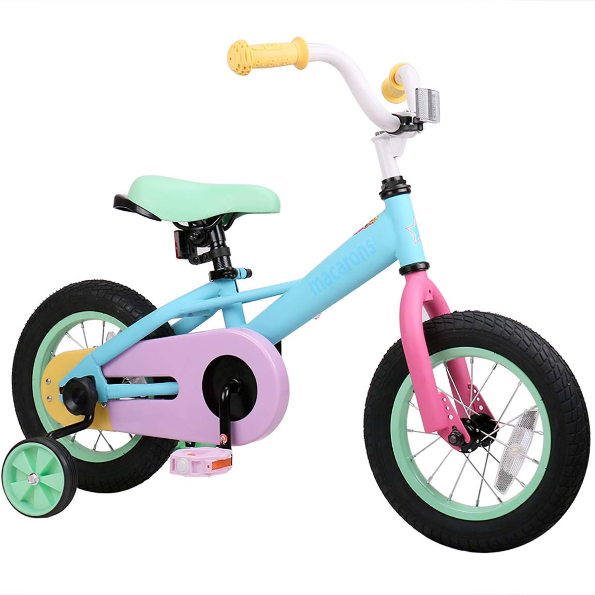 """JOYSTAR 12"""" & 14"""" Kids Bike for 2-5 Years Girls 33-41 inch Tall, Girls Bicycle with Training Wheels & Coaster Brake, 85% Assembled, Macarons product image"""
