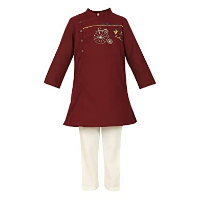 8e6db45186 LilPicks Brown Golden Bicycle Embroidered Kurta Pyjama Set: Amazon.in:  Clothing & Accessories