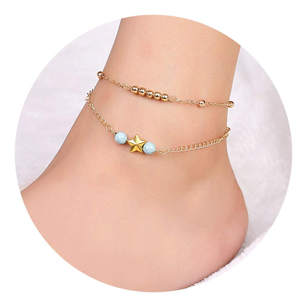 Tgirls Bohemian Layered Beaded Star Anklet Bracelet Beach Ankle Accessories Jewelry Women and Girls