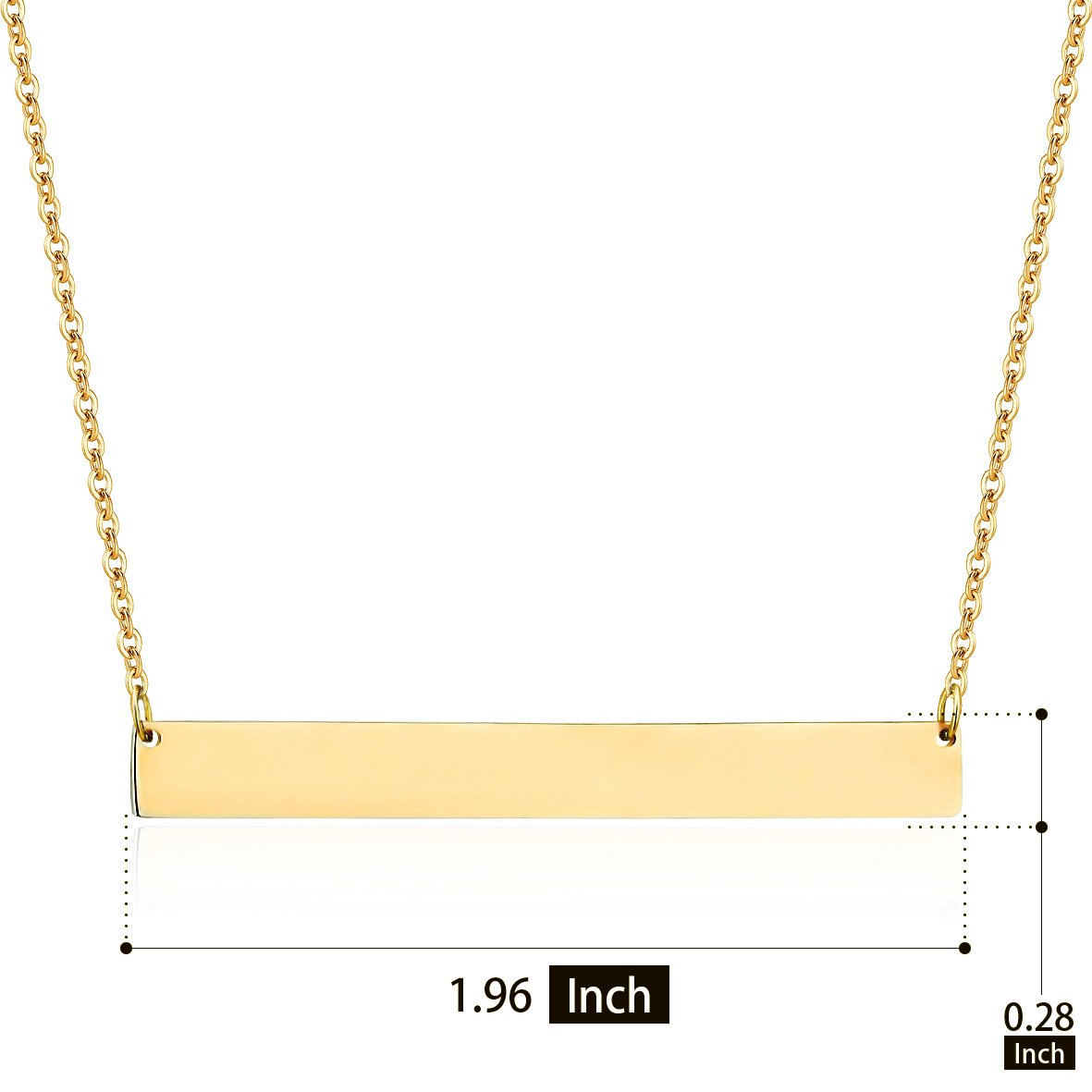 Lazycat Stainless Steel 18K Plated Bar Necklace with Engravable Bar Pendant (Gold) by Lazycat (Image #2)