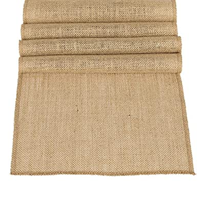 "Ling's moment 12 x 108 Inches Jute Farmhouse Table Runner Burlap Table Decor Bamboo for Winter Rustic Wedding Decorations Woodland Baby Shower Country Kitchen Boho Out Table Decor - STRONG DURABLE: Crafted out of light tan artificial jute hessian, no smell, It does not shed. Perfect for thanksgiving Christmas. This also ensures that they are durable. EXTRA LONG: Measuring 12"" wide x 108"" long, these burlap fabric table runners for parties are perfect for displaying on banquet tables, candy buffet tables, dining tables and more for most special occasions, including Christmas, Valentine's Day, St. Patrick's Day, Easter, Thanksgiving and Halloween. FRAY-RESISTANT: Tightly hemmed, the hessian table runner does not fray. This means you can use it again and again, special event after special event! - table-runners, kitchen-dining-room-table-linens, kitchen-dining-room - 61mBgtnXNPL. SS400  -"