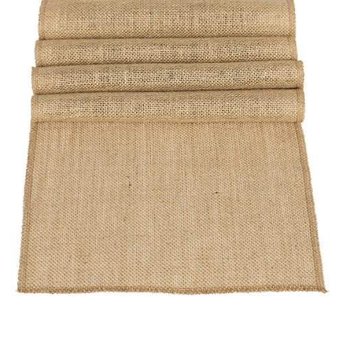 Ling's moment 12 x 108 Inches Burlap Wedding Table Runner Jute Spring Summer Easter Decoration Country Rustic Wedding Decorations Farmhouse Kitchen Decor Woodland Bridal Baby Shower Decor -