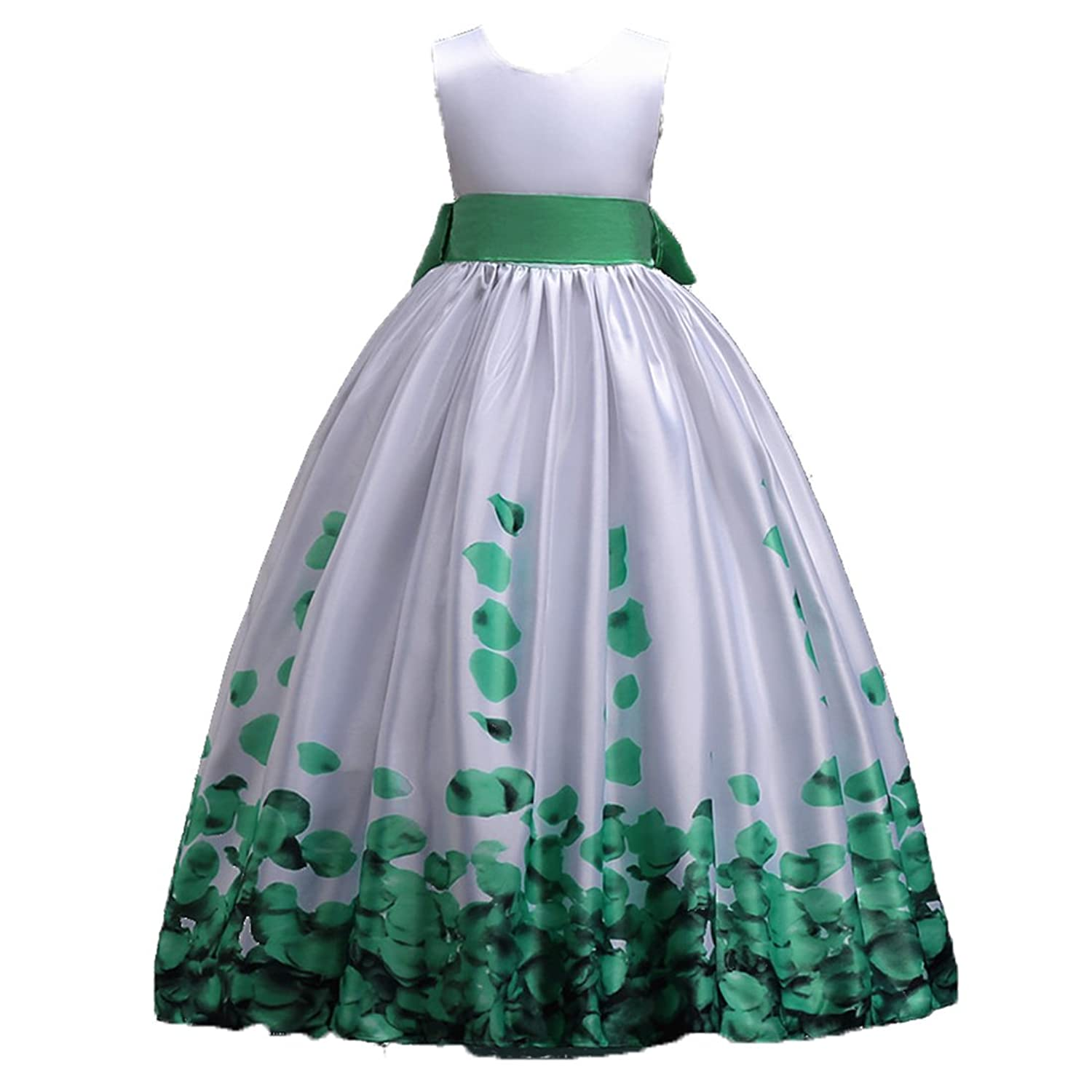 ADHS Kids Baby Girls Formal Occasion Sleeveless Flower Long Dresses