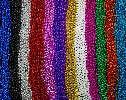 Skeleteen Mardi Gras Beads Necklaces - Assorted Colors Gasparilla Beaded Costume Necklace for Party - 144 Necklaces