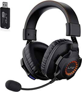 2.4G Wireless/Wired Gaming Headset, Detachable Noise Canceling Microphone, Orange LED Light Headphones for PC Laptop Mac Nintendo Switch Games