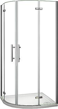 Mampara de ducha semicircular de cristal templado transparente con tratamiento antical de puertas batientes, 195 cm de altura, 80 x 80 o 90 x 90 cm, transparente: Amazon.es: Bricolaje y herramientas