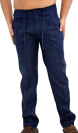 Amazon Com Jokhoo Pantalones De Playa Para Hombre Con Cordon De Lino L Clothing