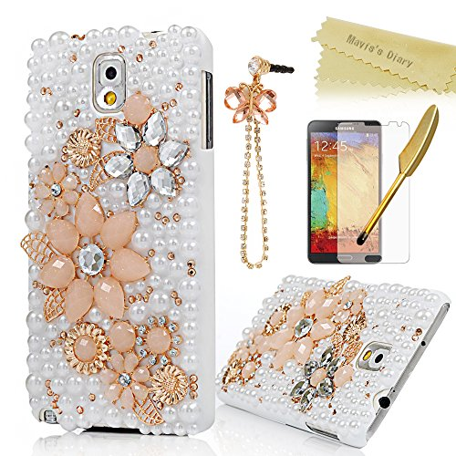 Note 3 Case,Galaxy Note 3 Case - Mavis's Diary 3D Handmade Bling Crystal Champagne String Flowers Gloden Shiny Diamond Pearls White Hard PC Case Cover for Samsung Galaxy Note 3 N9000 N9005 N9006