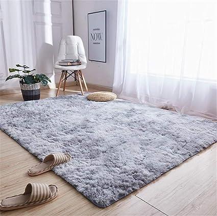 trayosin tapis de sol shaggy confortable poils hauts poils longs tapis moderne pour le salon chambre gris clair 100 120cm