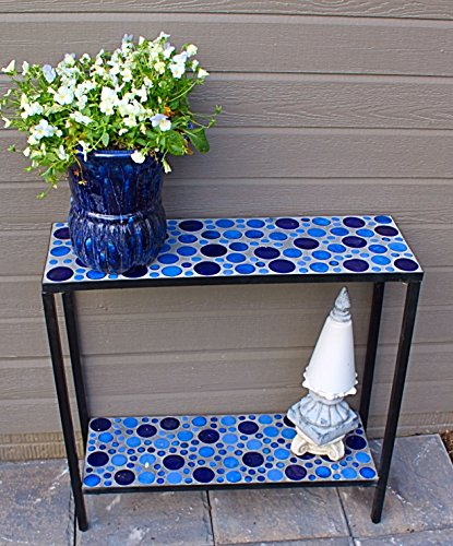 Pebble Lane Living Concrete Patio Console Buffet Table with Blue Mosaic Design (Designs Patio Pebble Mosaic)