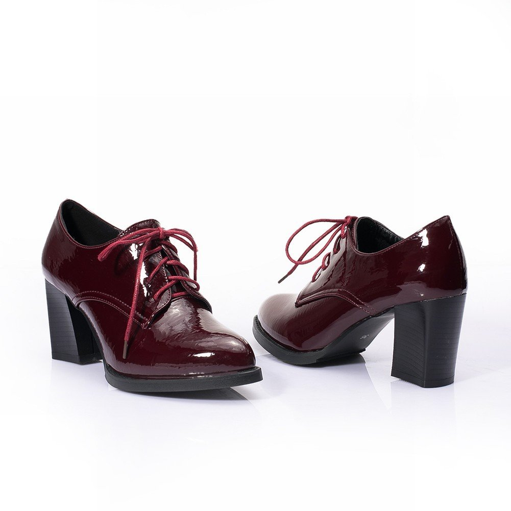 Charm Foot Womens Lace up Chunky High Heel Oxfords Shoes