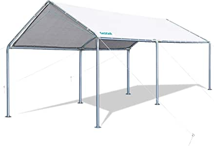 GALSOAR Carport, 10 x 20 ft Heavy Duty Car Tent for Snowy, Rainy Sunny Days, Rust Resistant Galvanized Steel Framework Car Canopy, White