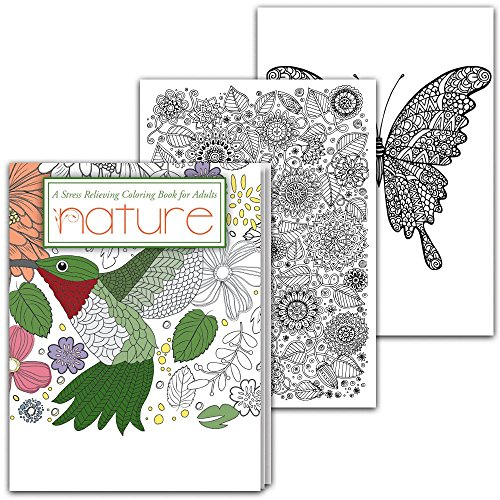 Nature, Stress Relieving Coloring Book for Adults - 2 pack by Safety Magnets