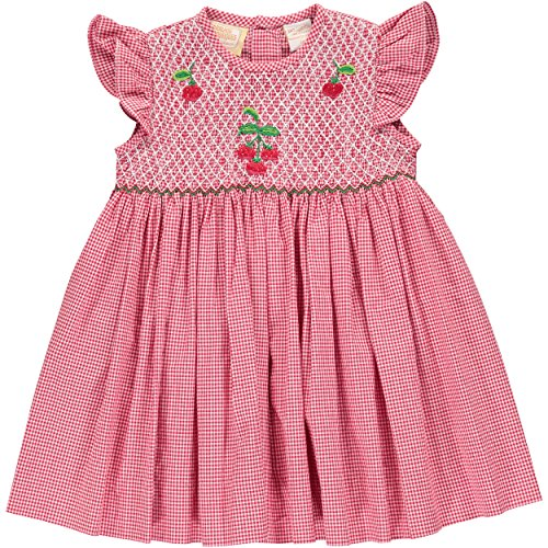Carriage Boutiques Smocked Dress - Girls Dress Hand Smocked Cherries on Red Plaid Dress and Flutter Sleeves - Cherries -(24 Months)