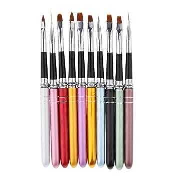 Homyl 10pcsset Nail Art Brushes Set Nail Design Uv Gel Drawing