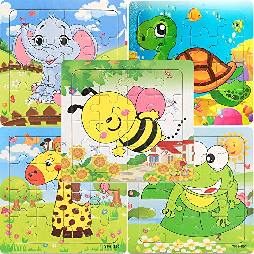 Kids Puzzles Toys for 2-4 Ages, Wooden Animals Educational Puzzle, 5 in 1 Pack for Elephant Frog Tortoise Giraffe Bee Set 16 Pieces Autism Children Puzzles Learning Toys ( Bright Colors ) ()