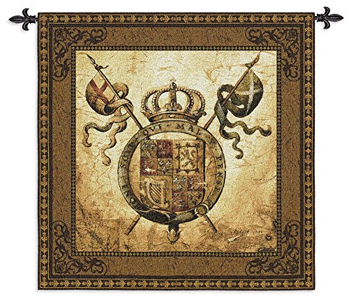 Terra Nova Ii by Liz Jardine - Woven Tapestry Wall Art Hanging - Old World Shield Crest of Lions Crown European Medieval Knights Armor Themed Artwork-100% Cotton-USA 44X44 ()