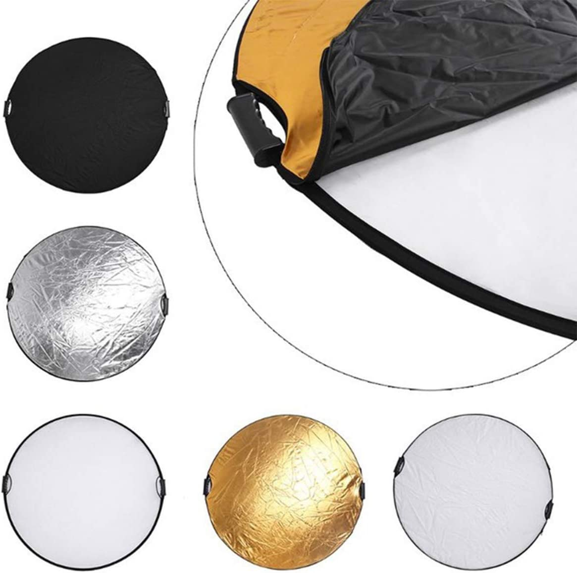 for Photography Photo Studio Golden//Silver//Black//White//Translucent 5 in 1 Round Collapsible Disc Light Reflector with Handle 60cm//24