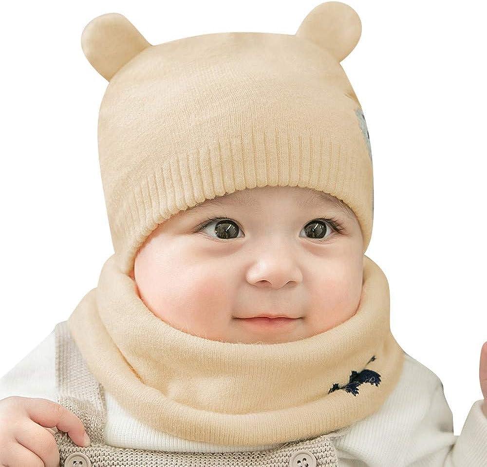 kaiCran Newborn Baby Cartoon Cotton Cap Fetal Cap Beanie Hat with Scarf Two Piece Set