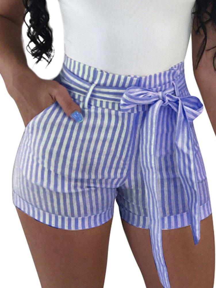 BEAGIMEG Womens High Waist Stripe Casual Shorts with Pockets Belt Dark Blue, Dark Blue, Medium