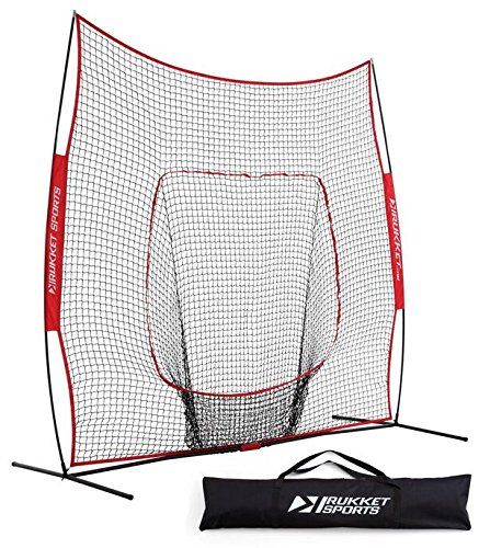 Rukket 9x9 Baseball / Softball Net | Practice Hitting, Pitching, Batting and Catching | Backstop Screen Equipment Training Aids | Includes Carry Bag by Rukket Sports
