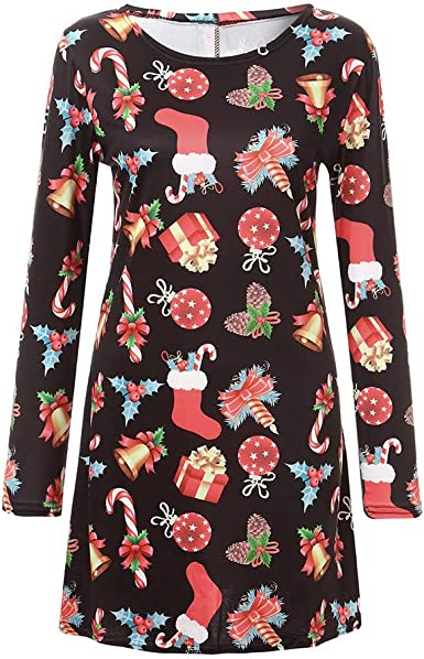 Women Christmas O Neck Long Pocket Tops Dress Vintage Long Sleeve Dress Plus Size Ladies Girls Elegant Cocktail Evening Party Dress Winter Autumn Jumper