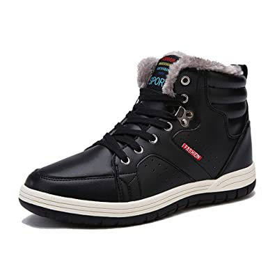 Men's High Top Casual Boots Outdoor Anti-Slip Elasticity Hiking Boots Warm Snow Boots Shoes