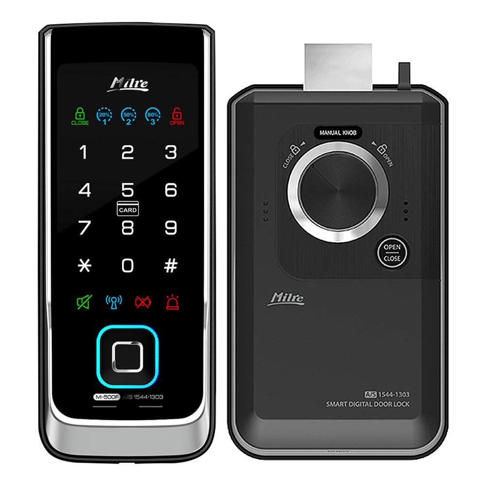 MILRE MI-500F Digital Rim Lock, Biometric Fingerprint, Notification Lamps, Double Locking, Manager Mode, Trespass Alarm…