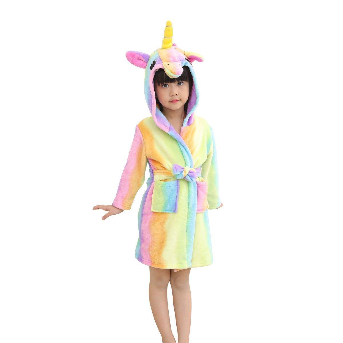 Hanax Kid Bathrobe Unicorn Flannel Ultra Soft Plush Comfy Hooded Nightgown Homewear Starry Sleepwear, 3T