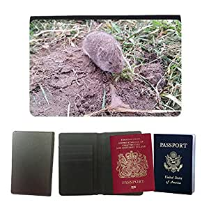 Hot Style PU Leather Travel Passport Wallet Case Cover // M00109879 Vole Nager Mouse Rodent Animal // Universal passport leather cover