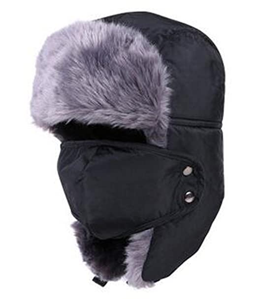 e91dc16c6f4 Women s Men s Winter Windproof Faux Fur Trapper Hat with Detachable Face  Mask Ear Flaps (