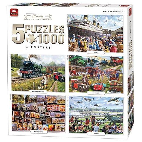 King 5en 1Classic Collection Puzzles–5x 1000pièces et Posters inclus