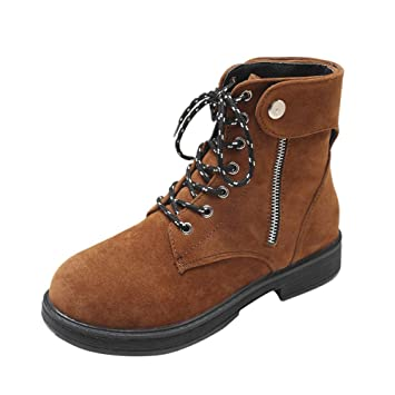 d4817d0ff06d4 Women s Combat Style Lace Up Ankle Bootie Side Zipper Round Toe Low Heel  Work Boot (
