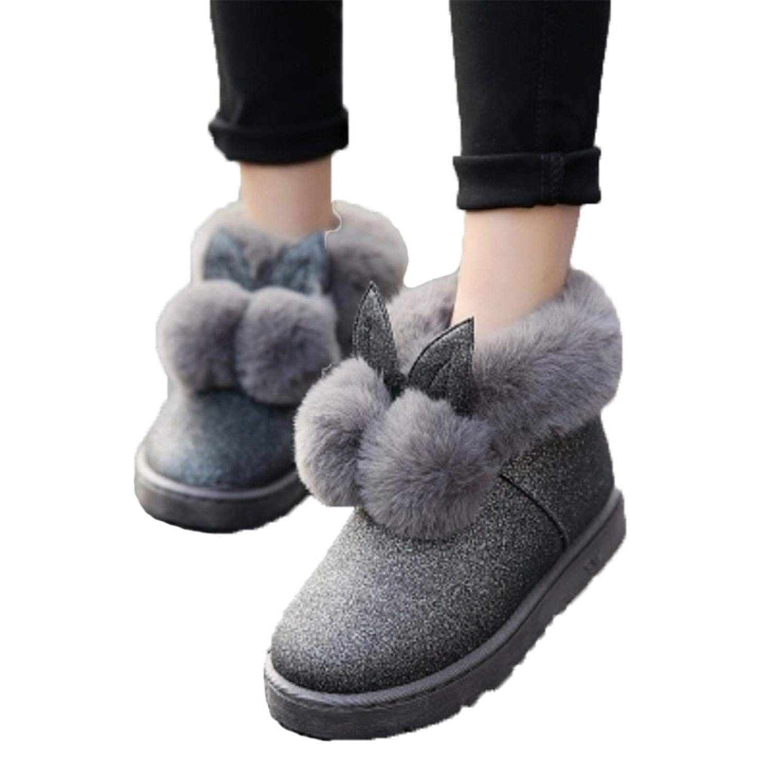 DATAIYANG Women Boots Rabbit Ears Cute Boots Waterproof and Velvet Thick Warm Cotton Shoes.